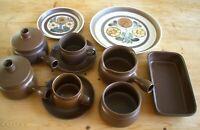 Denby Mayflower Cups & Saucers, 2 Plates, Dish, Bowl, Soup Bowls, Gravy Boat = 9