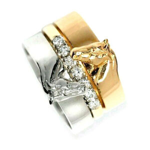 Horse Head Ring 3 in 1 Sweetheart Lovers Elegant Trendy Ring Jewelry Resizable