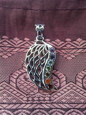 517 Angel Wing/Chakra Solid 925 sterling silver pendant 7 gems rrp$69.95