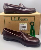 L.L. Bean Mens Cordovan Burgundy 189037 Leather Penny Loafer Shoes US Size 10 D
