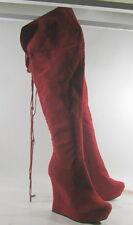 """Red 5"""" Wedge High Heel 1.5"""" Platform Back Lace Sexy Long Knee Boots Size 5.5"""