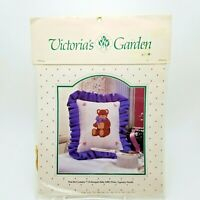 Counted Cross Stitch Kit Teddy Bear Pillow Sampler Victorias Garden Vintage