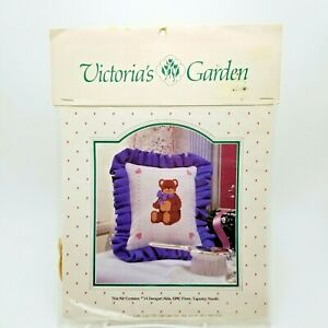 Counted Cross Stitch Kit Teddy Bear Pillow Sampler Victorias Garden Vintage