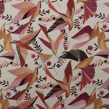 "RICHLOOM HUMMINGBIRD FLAMINGO PINK BIRD WOVEN JACQUARD MULTIUSE FABRIC BTY 58""W"