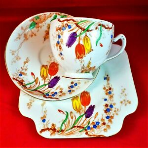 ROYAL GRAFTAN Trio TULIPS Tea Set FLORAL China ART DECO Vintage 1930s RARE