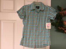 Marmot Women's Logan Blue & Orange Short Sleeve Button Front Shirt Xs (Con20)