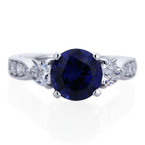 Women 8mm Platinum Plated Silver 2ct Sapphire CZ 3 Stone Engagement Ring