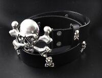 Mens Genuine Leather Skull Studded Belt Metal punk Rock Dope Biker