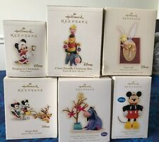DISNEY HALLMARK CHRISTMAS HOLIDAY ORNAMENTS LOT OF 6 MICKEY MINNIE POOH TINK