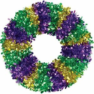 """Mardi Gras Tinsel and Sequin Wreath, Party Supplies, 17"""", 1 Count"""
