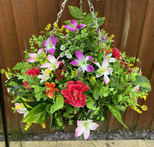 12 Inch Rattan Hanging baskets artificial flowers Garden Home Decor House Gift