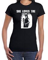 599 She Loves the D womens T-shirt daryl zombie walking tv show dead redneck
