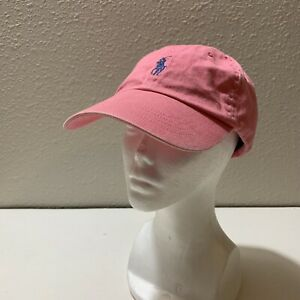 Polo Ralph Lauren Canvas Pink Strap Back Chino Hat Cap Navy Blue Horse