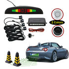 4 Parking Sensor Car Reverse Backup Rear Radar System Kit LED Sound Alert Alarm