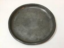 "Antique English Pewter Superfine Hard Metal London Plate, 8 1/4"" Diameter"