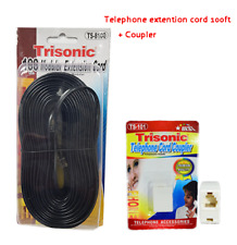 100FT TELEPHONE MODULAR EXTENSION CORD WITH A TELEPHONE COUPLER TRISONIC