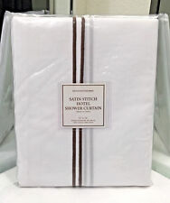 "Restoration Hardware Satin Stitch Shower Curtain Chocolate 72"" x 72"" NEW $99"