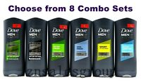 Dove Men+Care Body Wash Micro Moisture 400 ml 4 Packs (Choose From 8 Combo Sets)