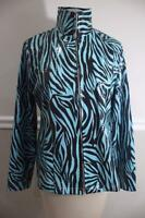 (z) Exclusively Misook BLUE BACK PAILLETS ZIPPER FRONT JACKET SIZE M (MI100