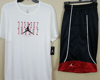 NIKE AIR JORDAN XI RETRO 11 OUTFIT SHIRT + SHORTS WHITE BLACK RED RARE (SIZE XL)