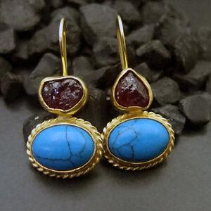 Handmade Designer Rough Ruby & Turquoise Earring  22K Gold over Sterling Silver