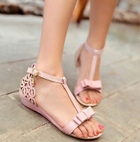 Lolita Vintage Girls Bowknot T-Strap Shoes Open Toe Low Wedge Heels Bow Sandals