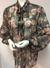 Who What Wear Size Large Black Pink Peach Poppy Floral Long Sleeve Top Blouse