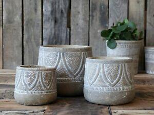 Stone colour etched pattern plant pot