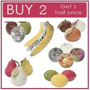 Mosaic Glass Decorative Fruit Apples, Pears, Bananas, Lemons Fruit Bowl Kitchen