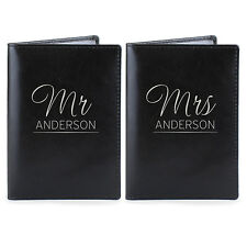 Personalised Mr & Mrs Black Passport Cover Holder Set. Wedding Birthday Gift