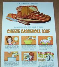 1962 print ad - Fleischmann's Yeast Cheese Casserole Loaf Bread recipe Advert