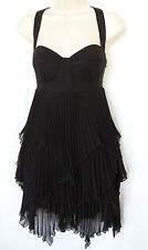 Marciano Little Black Dress Bustier Corset Pleated Asymetrical Racerback Medium