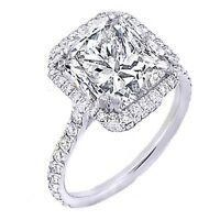 1.60 Ct. U-Pave Princess Cut Halo Diamond Engagement Ring F,VS1 GIA 14K Gold