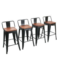 """4× 24"""" Metal Bar Stools Counter Height Barstool Chairs Low Backrest Wooden Seat"""