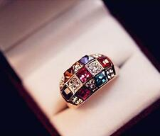 2015 Luxury Women Colourful Rhinestone Crystal Finger Dazzling Ring Jewelry HOAU