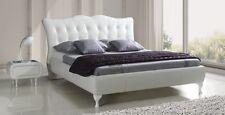 Design Luxus Lounge Polsterbett Doppelbett Futon-Bett Leder Weiß SL25 NEU!