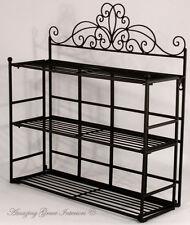 Shabby Chic Black Metal Wall Shelf Storage Unit Display Rack Bathroom Kitchen