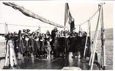 1930 RARA FOTO CARTOLINA COO COS EGEO SCOLARESCA VISITA NAVE MILITARE