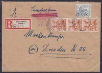 Alliierte Besetzung Mi Nr. 951, 947 MiF R- Brief Ebersbach - Dresden 25.02.1948