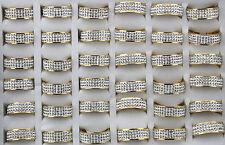 Job lots 20pcs Stainless steel Full Rhinestone Gold PWomen/men's Wedding ring