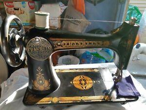 Beautiful Ornate Antique Franklin Sewing Machine in a beautiful cabinet, Works
