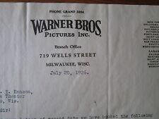 Movie letterhead Warner Bros Man Upstairs Monte Blue Dorothy Devore 7/20/1926