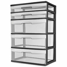 5 Drawer Wide Tower Storage Sterilite Organizer Cabinet Heavy Plastic *NEW*