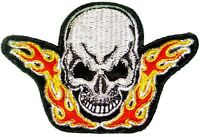 Flaming Skull Iron on Patch Shoulder patch or Pocket Patches Embroidered Logo