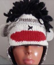 Handmade 100% Wool Punk Sock Monkey Fleece Lined One Size Unisex Winter Hat