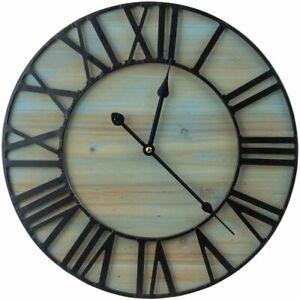 Sorbus Wall Clock, Centurion Roman Numeral Hands, Coastal Beach, Rustic...