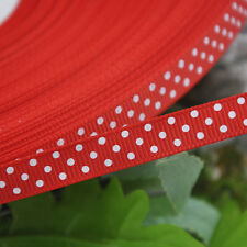 "3/8"" Upick 5/100y Lot Color Grosgrain Ribbon Print Dots Appliques/Craft/Wedding"