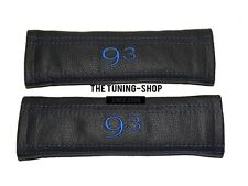 "2x Seat Belt Covers Pads Leather ""93"" Blue Embroidery for Saab"