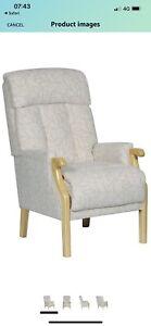 Aster Fireside Easy Chair Elderly Mobility In Oyster Beige Leaf Desogn Rrp £300