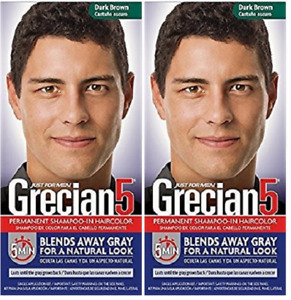 Grecian5 for Men, 5 Minute Permanent Shampoo-In Haircolor, Dark Brown (2 Pack)